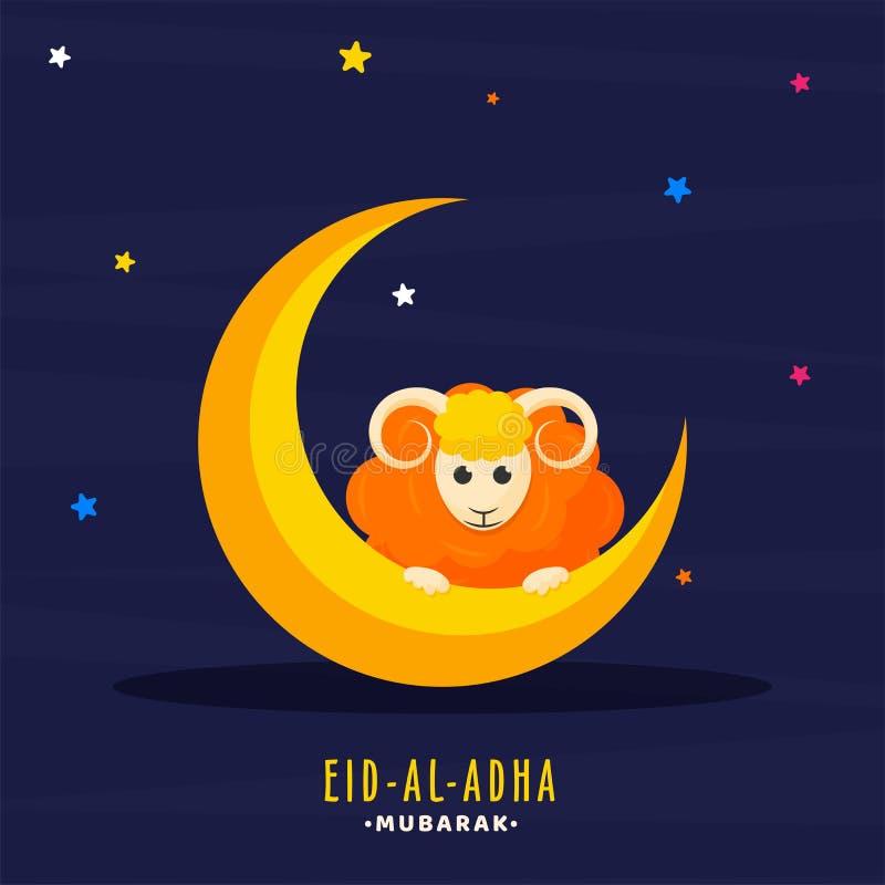 La luna e le pecore crescenti dorate sulle stelle variopinte hanno decorato il blu illustrazione di stock