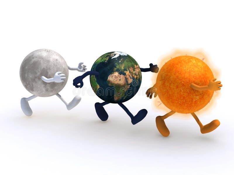 La luna, il mondo ed il funzionamento del sole royalty illustrazione gratis