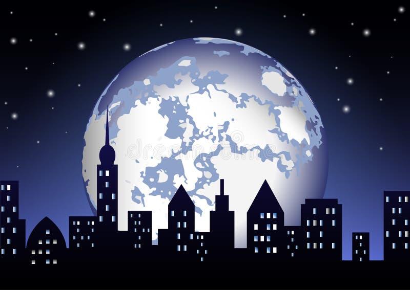 La Luna Llena brilla en la ciudad de la noche imagen de archivo