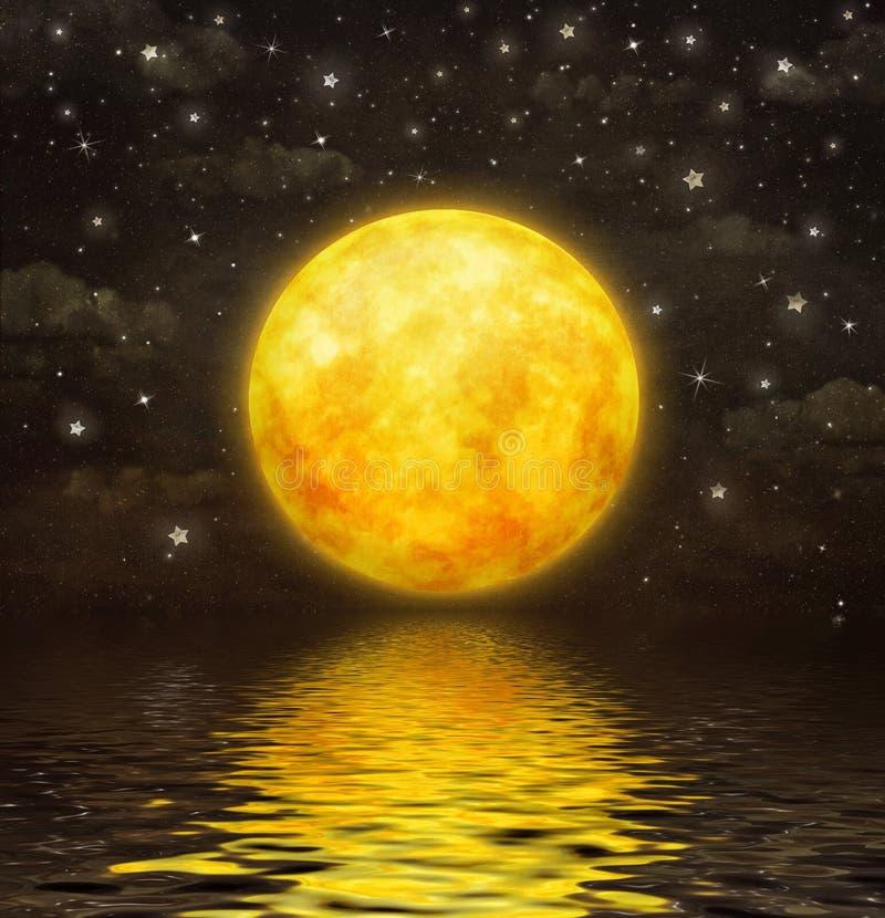 La Luna Llena se refleja en agua ondulada libre illustration