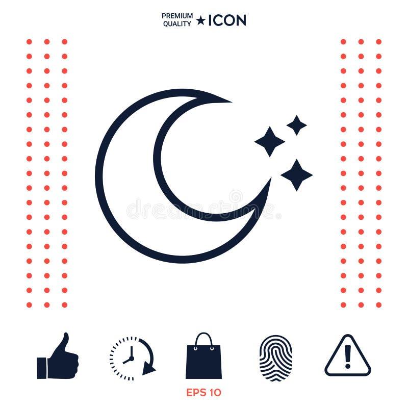 Download La Luna Stars La Linea Icona Illustrazione Vettoriale - Illustrazione di sogno, astronomia: 117976000