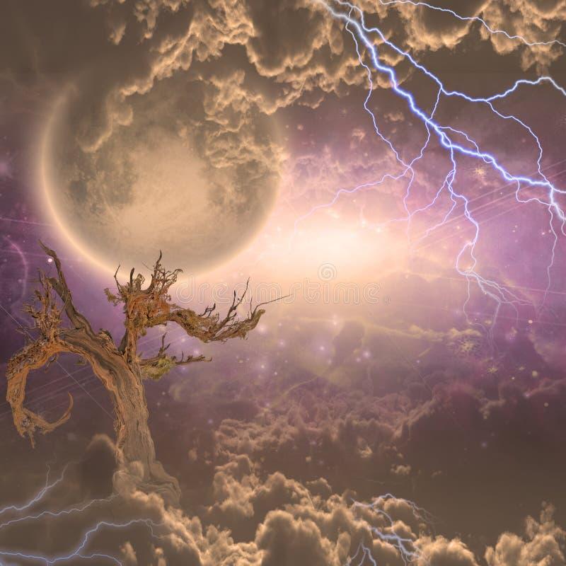 La luna sube sobre las nubes stock de ilustración
