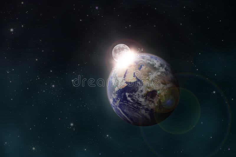 La luna urta la terra royalty illustrazione gratis