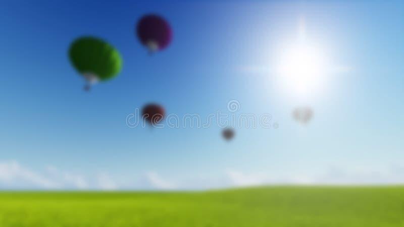 La luna vaga del fondo del paesaggio dell'erba balloons ed il prato verde della molla Composizione nella natura Immagine di vetto illustrazione di stock