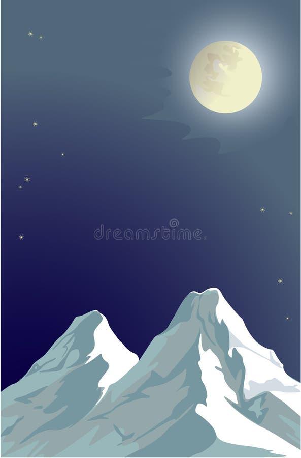 La luna y las montañas stock de ilustración