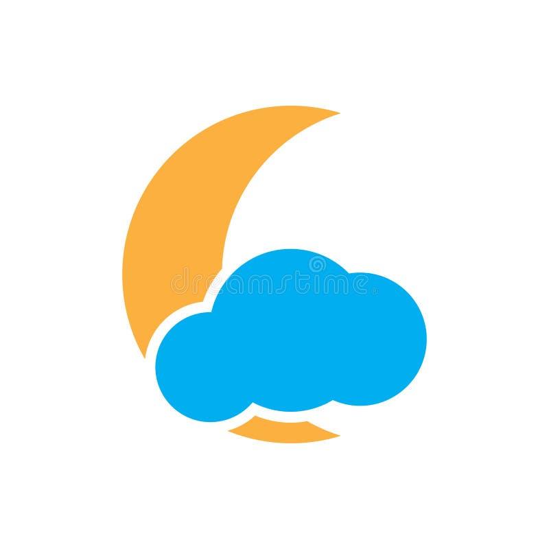 La luna y la nube planas vector la muestra del icono aislada en el fondo blanco para el diseño gráfico, logotipo, sitio web, medi stock de ilustración