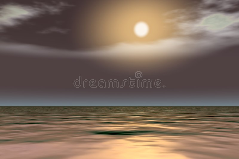 La lune est brillante au-dessus de la mer illustration libre de droits