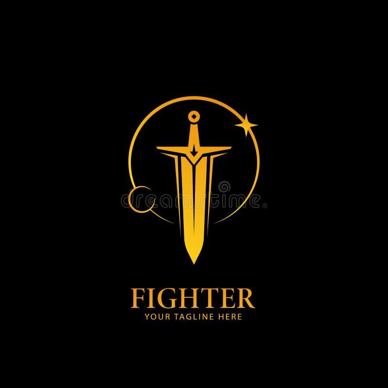 La lune et les étoiles allument le logo d'épée, symbole d'icône de logo de combattant de guerrier dans la couleur d'or avec le fo illustration de vecteur