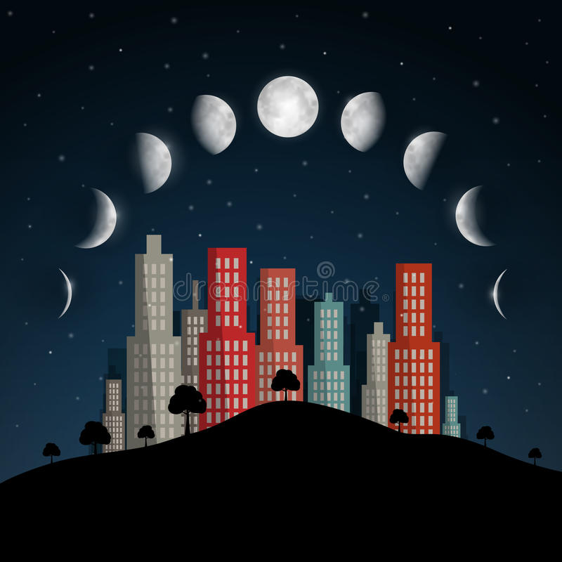 La lune met l'illustration en phase de vecteur illustration libre de droits