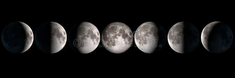 La lune met le collage en phase photos stock