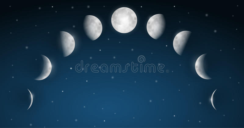 La lune met le vecteur en phase illustration libre de droits