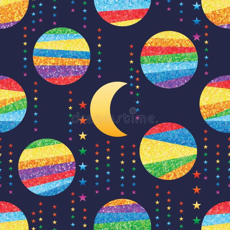 La lune sept de scintillement d'arc-en-ciel de rayure de cercle tiennent le premier rôle le modèle sans couture illustration de vecteur