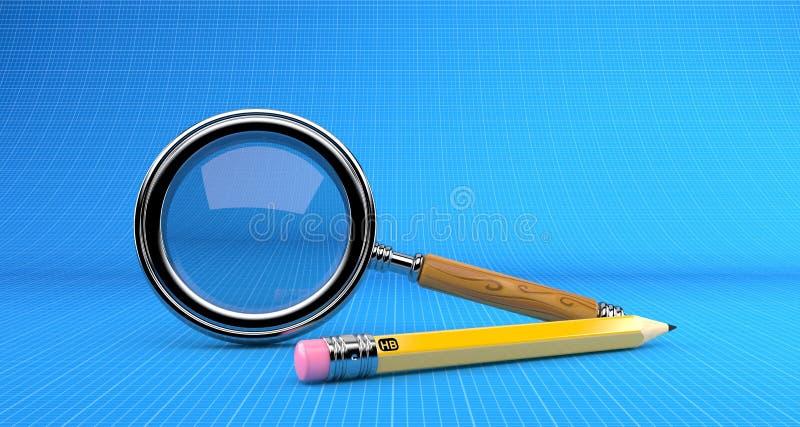 La lupa con el lápiz miente en modelo stock de ilustración