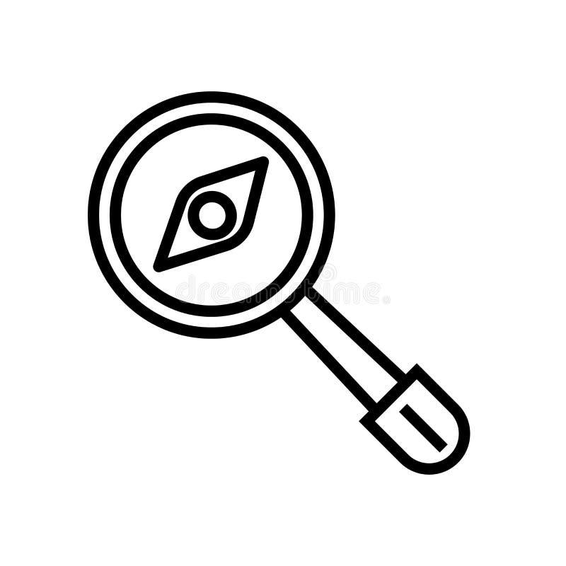 La lupa con vector del icono de los gusanos aislada en el fondo blanco, lupa con los gusanos firma, símbolo y movimiento lineares ilustración del vector