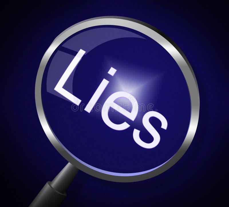 La lupa de las mentiras no representa ninguna mentira y la corrige ilustración del vector