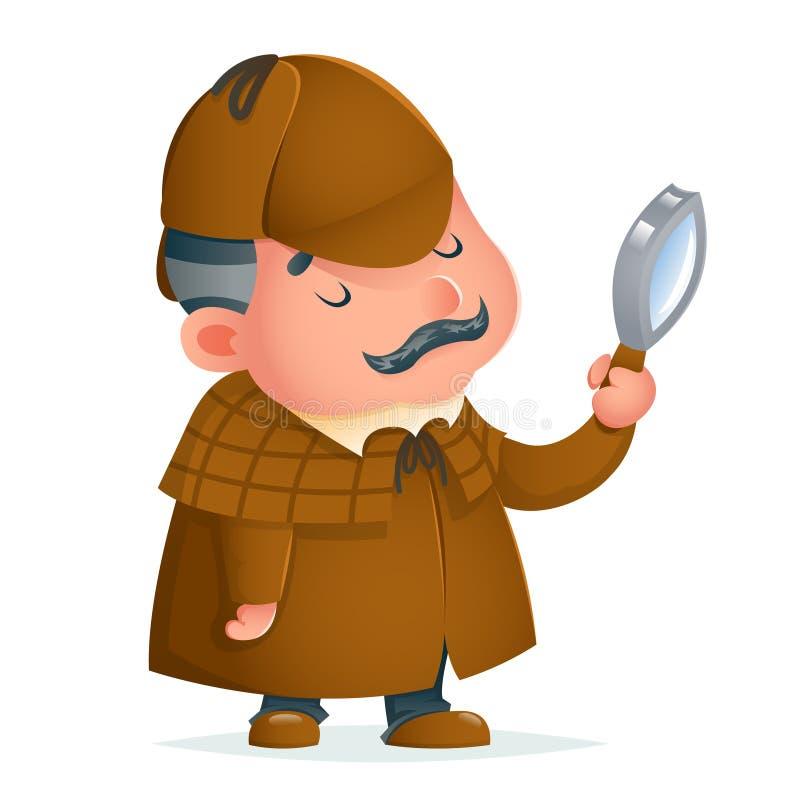 La lupa detective victoriana del caballero investiga el ejemplo gordinflón lindo del vector del diseño de la historieta de la mas stock de ilustración