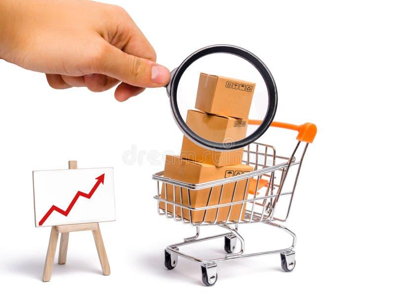 La lupa está mirando el carro del supermercado con las cajas y un gráfico con la flecha roja, mercancía: el concepto de compra fotos de archivo
