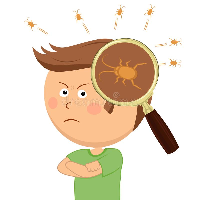 La lupa muestra piojos en la cabeza del niño pequeño enojado ilustración del vector