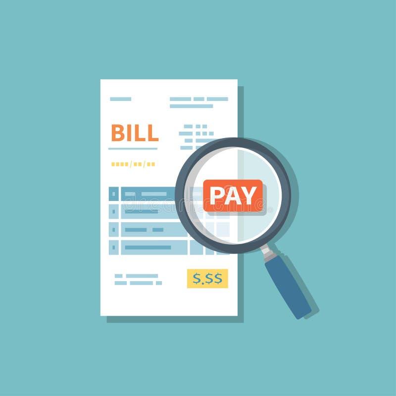 La lupa sobre cuenta examina el pago Estudiar la cuenta que paga Factura, control, muestra del recibo Símbolo financiero de papel ilustración del vector