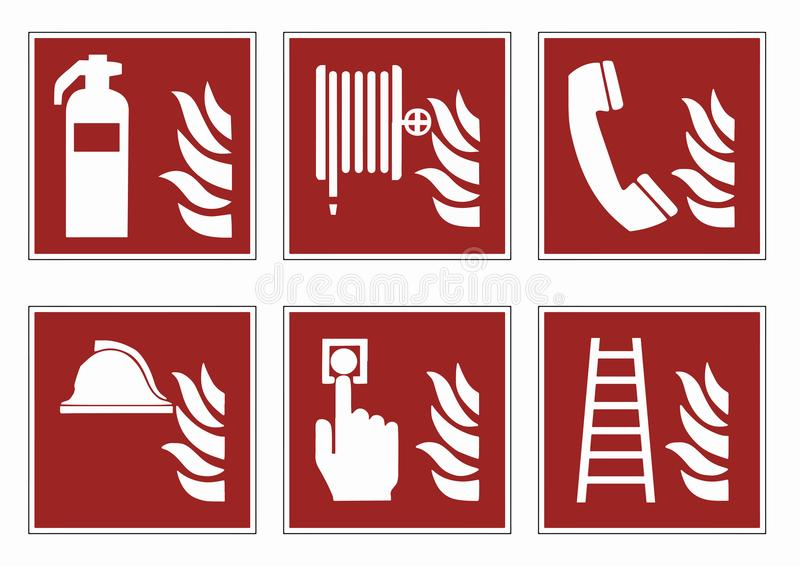 La lutte anti-incendie signe - l'ensemble d'icône de pictogramme de secours, vecteur illustration libre de droits