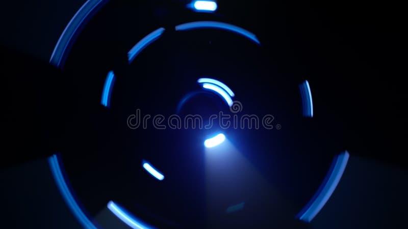 La luz de neón azul arrastra formas del círculo stock de ilustración