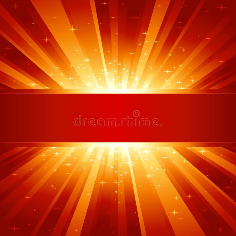 La luz de oro roja repartió con las estrellas y el copyspace stock de ilustración