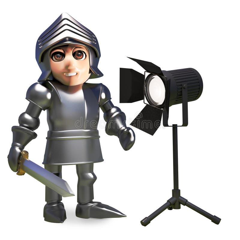 La luz del estudio deslumbra al caballero medieval de la historieta en armadura, ejemplo 3d stock de ilustración