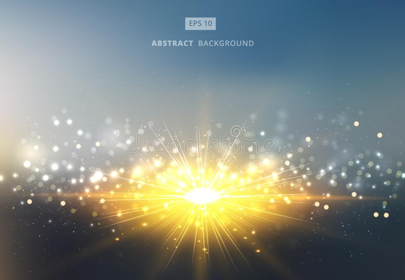 La luz del sol brillante del sol con el fondo del cielo del bokeh del oro y de la plata stock de ilustración