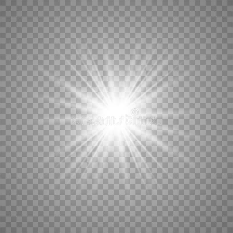 La luz hermosa blanca estalla ilustración del vector