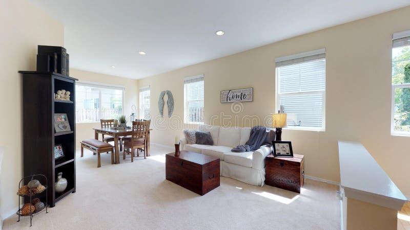 La luz llenó el espacio vital en hogar de dos pisos hermoso imágenes de archivo libres de regalías