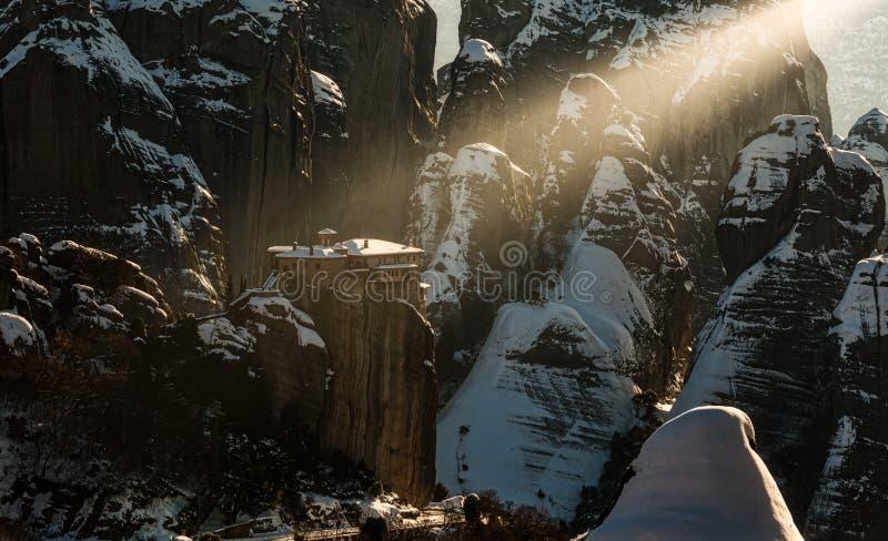 La luz santa en Meteora foto de archivo libre de regalías