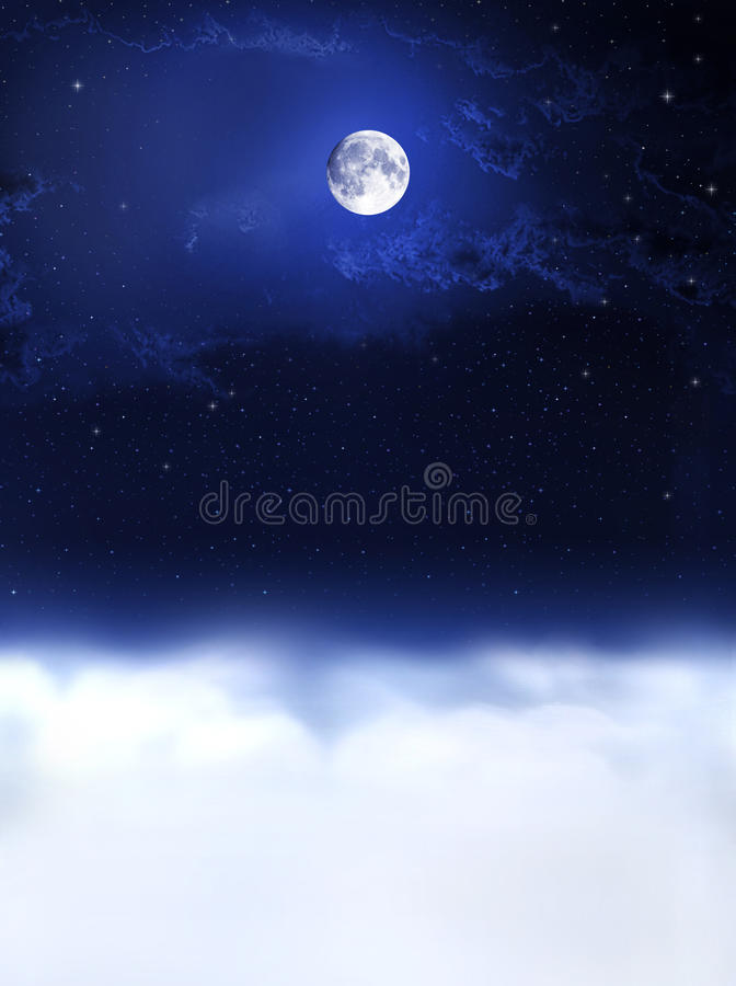 La luz y la noche de luna soña? stock de ilustración