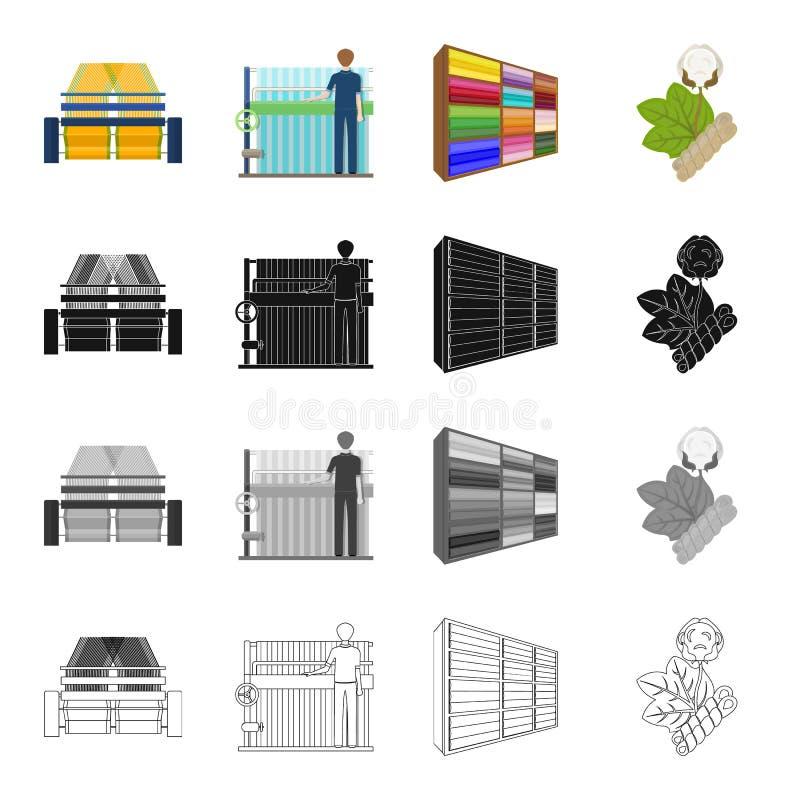 La máquina, el equipo, la materia textil, y el otro icono del web en estilo de la historieta Banco, herramienta, iconos de la ins stock de ilustración