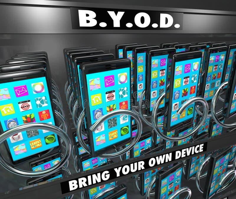 La máquina expendedora elegante del teléfono celular de BYOD trae su propio dispositivo ilustración del vector