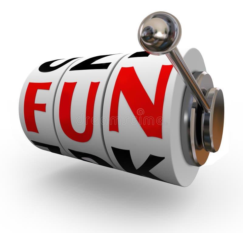 La máquina tragaperras de la palabra de la diversión rueda el entretenimiento del disfrute stock de ilustración