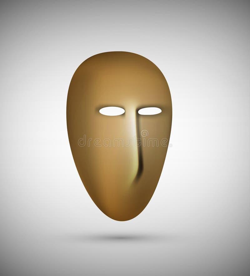 La máscara, cara vacía ningunas sensaciones, ningunas emociones dentro, ilustración del vector