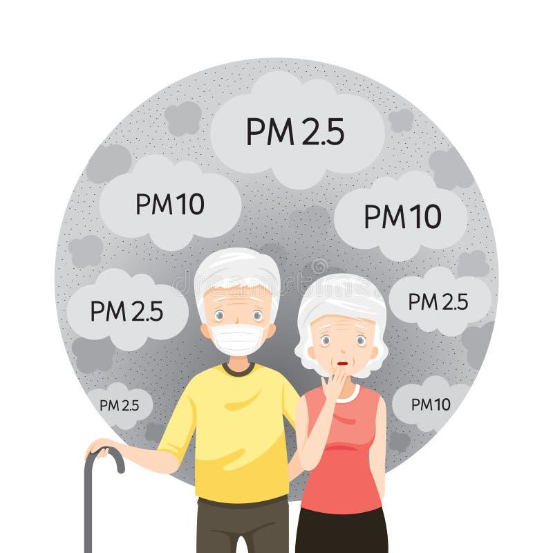 La máscara de la contaminación atmosférica del viejo hombre que lleva y de la mujer mayor para protege el polvo PM2 5, PM10, humo ilustración del vector