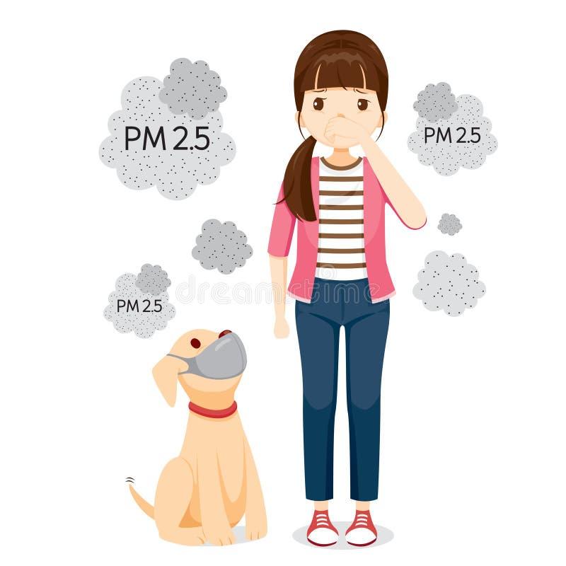 La máscara de la contaminación atmosférica de la mujer que lleva y del perro para protege el polvo PM2 5, PM10, humo, niebla con  stock de ilustración
