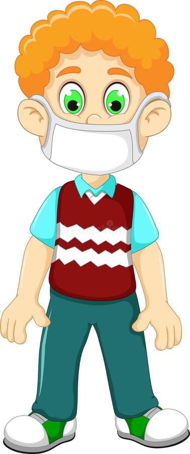 La máscara de la respiración de la historieta linda del muchacho que lleva para protege una enfermedad respiratoria stock de ilustración