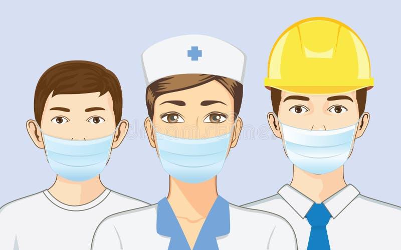 La máscara de la respiración del grupo de personas que lleva para protege párticulas de polvo libre illustration