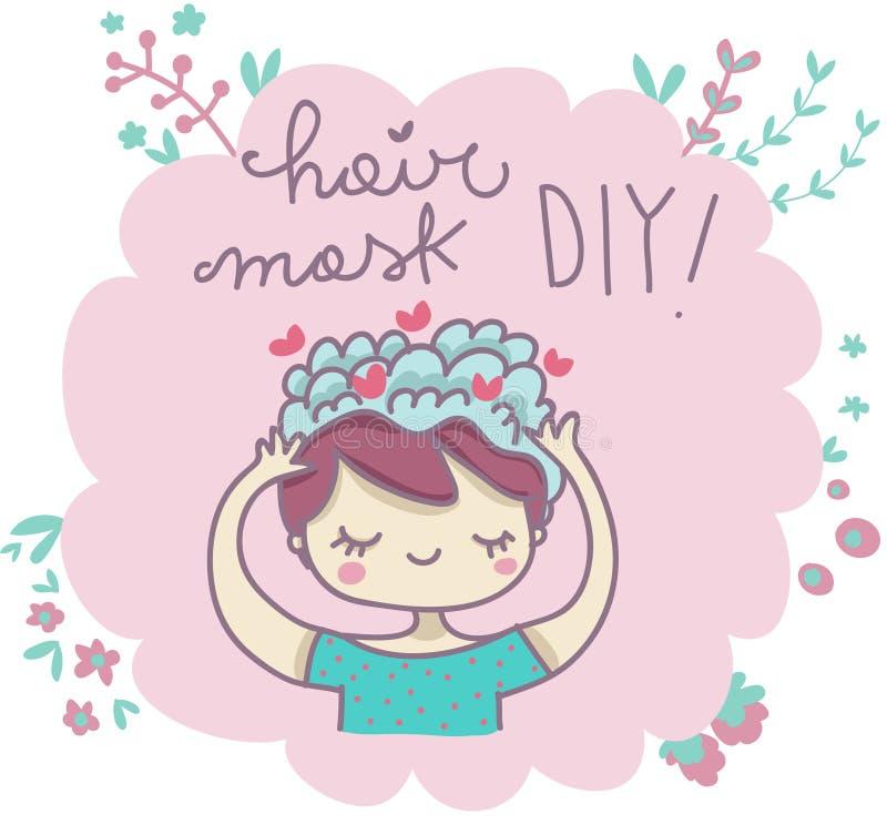 La máscara del pelo lo hace usted mismo libre illustration