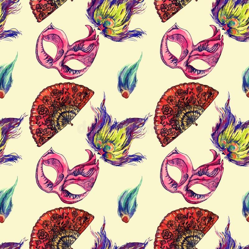 La máscara rosada del carnaval con el ornamento azul marino, la fan española roja y el pavo real empluma en fondo amarillo suave libre illustration