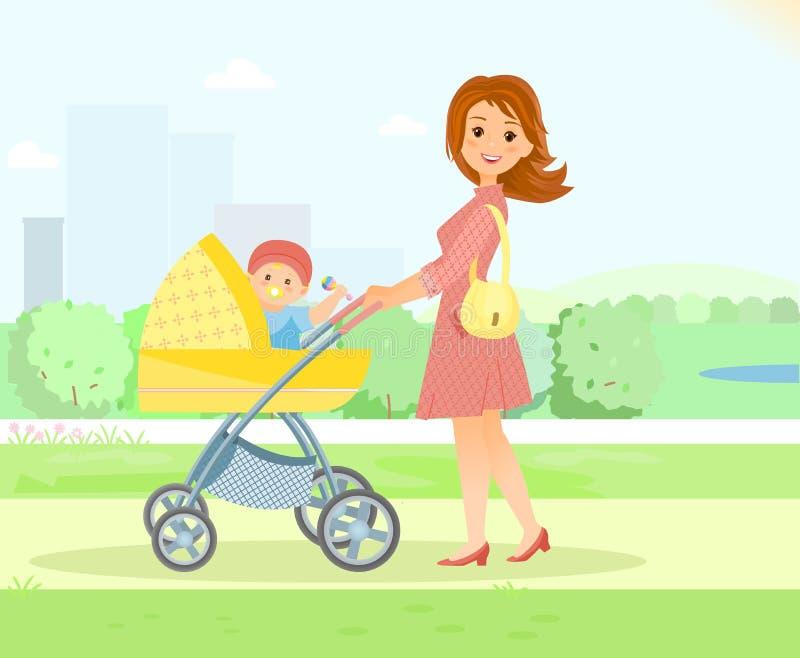 La mère avec le bébé dans la poussette marche en parc de ville illustration de vecteur