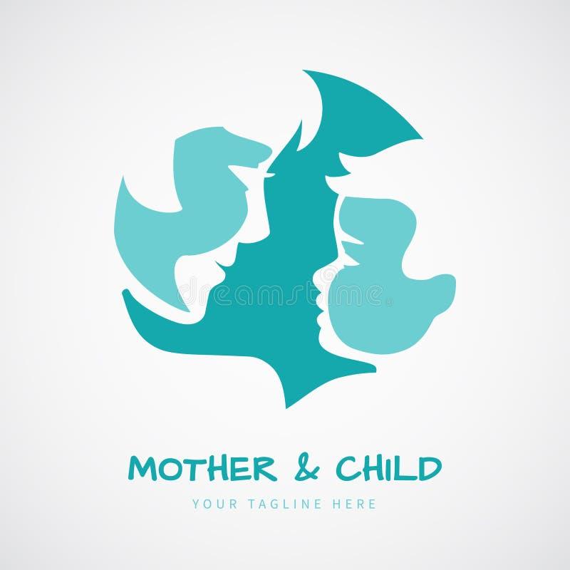La mère avec ses silhouettes stylisées par bébé pour le jour du ` s de mère saluent illustration libre de droits