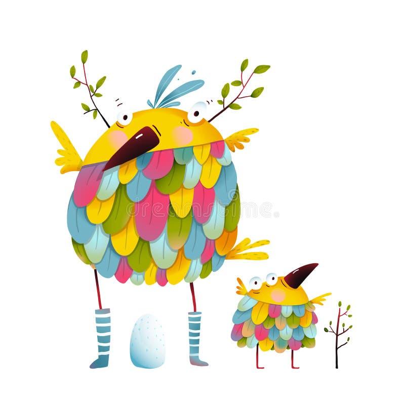 La mère de famille d'oiseau et l'oeuf drôles d'oisillon badinent illustration libre de droits