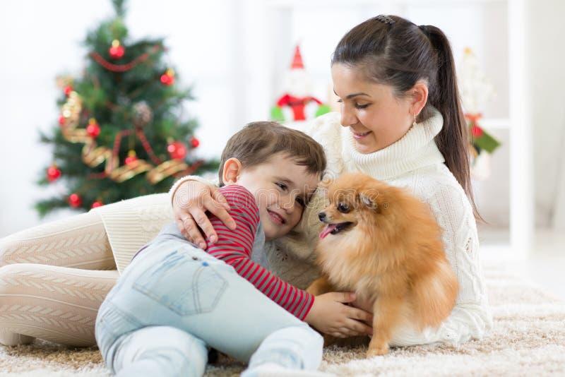 La mère de famille et son fils jouent avec le chien à l'arbre de Noël photographie stock libre de droits