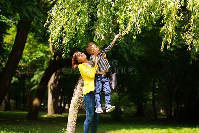 La mère et l'enfant jouant à la ville d'été se garent sur la nature photos stock