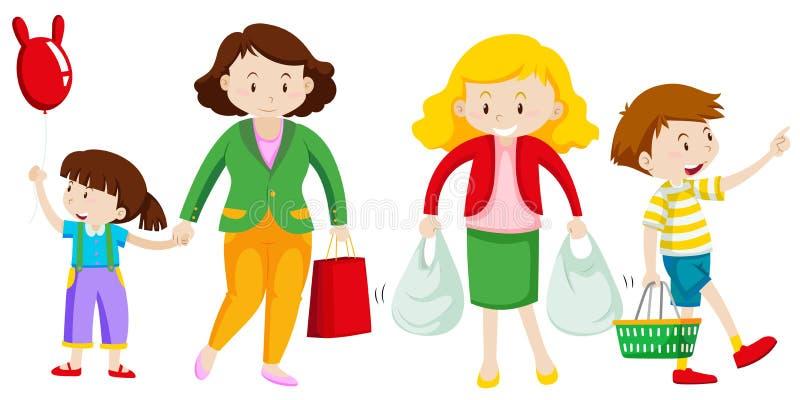 La mère et l'enfant vont faire des emplettes illustration libre de droits