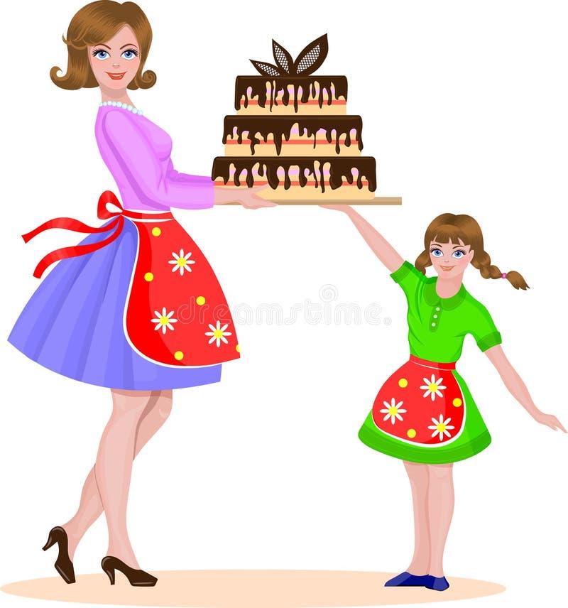 La mère et la fille ont fait un gâteau cuire au four images libres de droits
