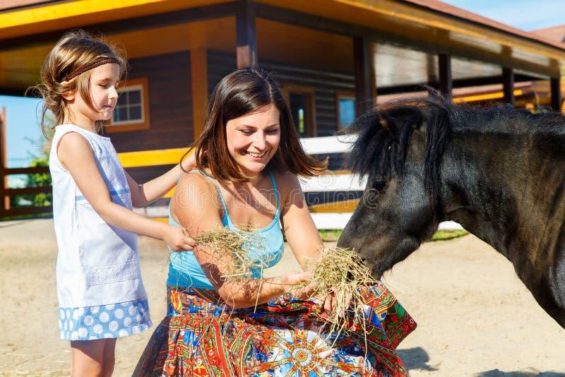 La mère et la fille sont alimentées avec des poneys de paille à la ferme images stock